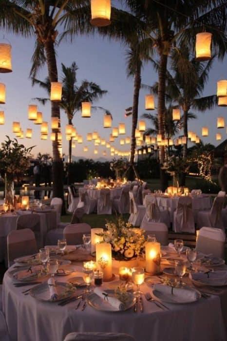 boda decoración velas led