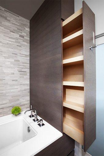 Un gran cajón sobre la bañera. Una idea genial para ahorrar espacio en el baño decorar-banos Blog Decoracion