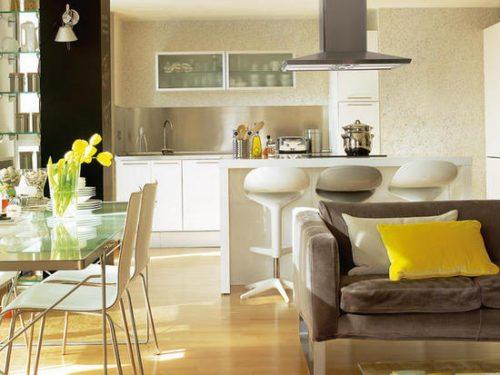 cocina integrada en el salón