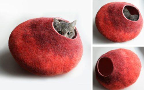 cozy wool cat caves Objetos de deseo para mascotas