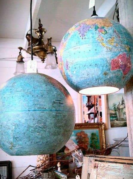 lámparas mapas decorar reciclando