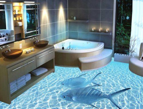 baño con suelo 3d