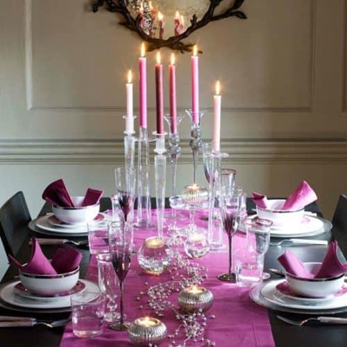 mesa de navidad fucsia