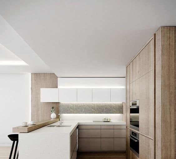 cocinas de madera + blanco